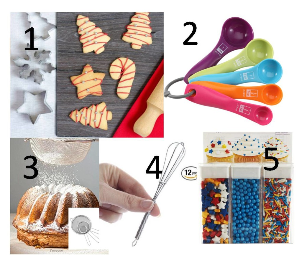 Click on the links to check each one  1. Set of Christmas Cookie Shapes 2. Measuring Spoons  3.Sieve  4. Mini Wire Whisk  5. Sprinkles
