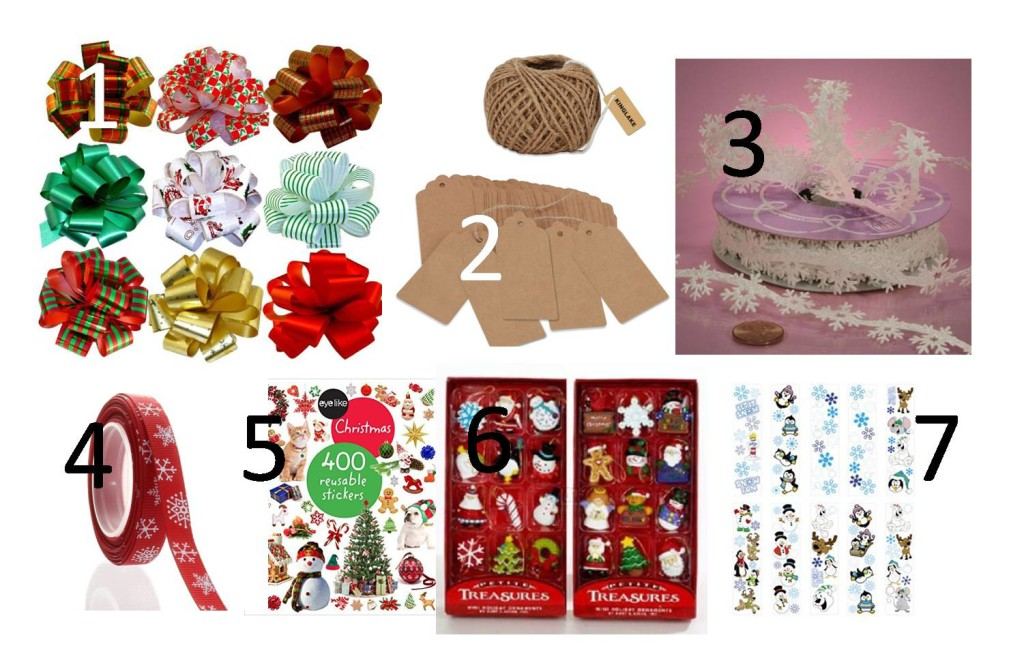 Gift Jars Decoration - CLICK on the links 1. Pull Bows 2. Paper Gift Tags 3. White Snowflake Ribbon 4.  Grosgrain Ribbon 5. Christmas Stickers Peprback 6. Miniature Ornaments 7. Stickers