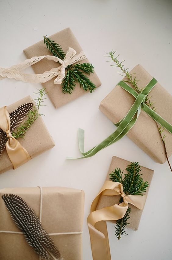 gift wrapping inspired by nature