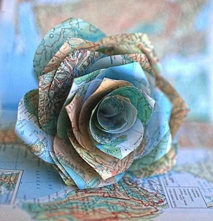 Paper flower made of old map